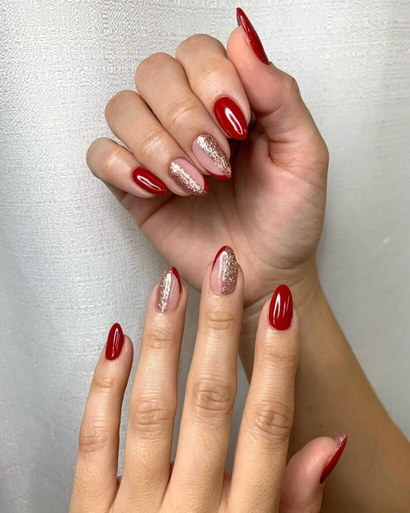 Golden and Red Valentine's Day Nails