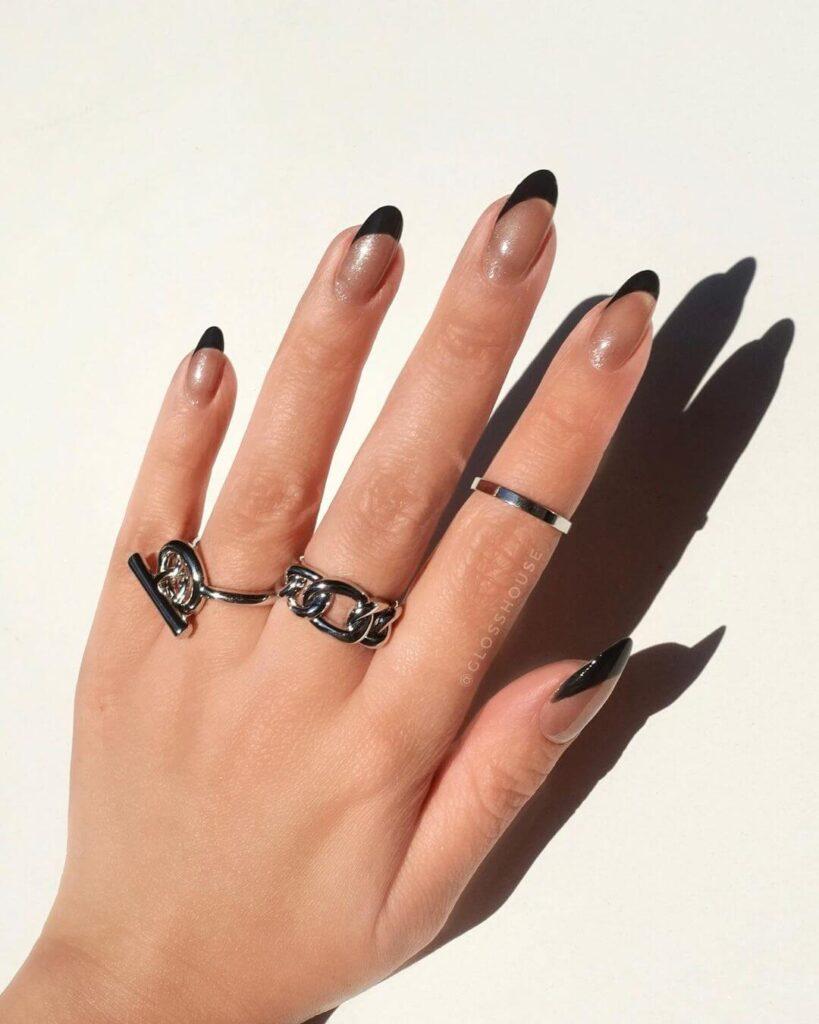 Black Negative Space Valentine's Day Nails