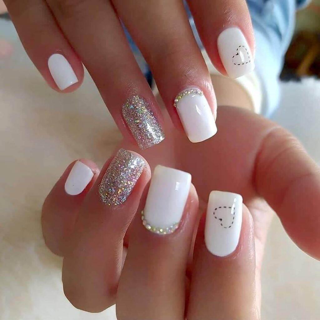 White short classic Valentine nails