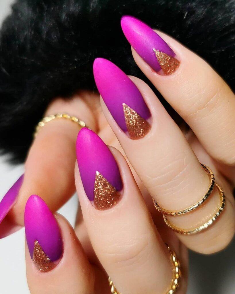 Charming purple almond Valentine's day nails