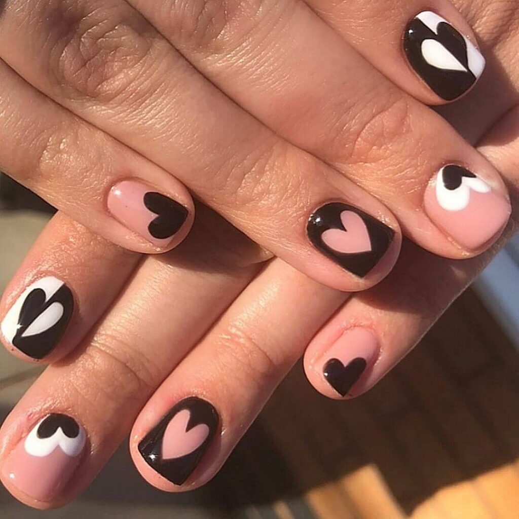 Black and white short Valentine's Day Nails