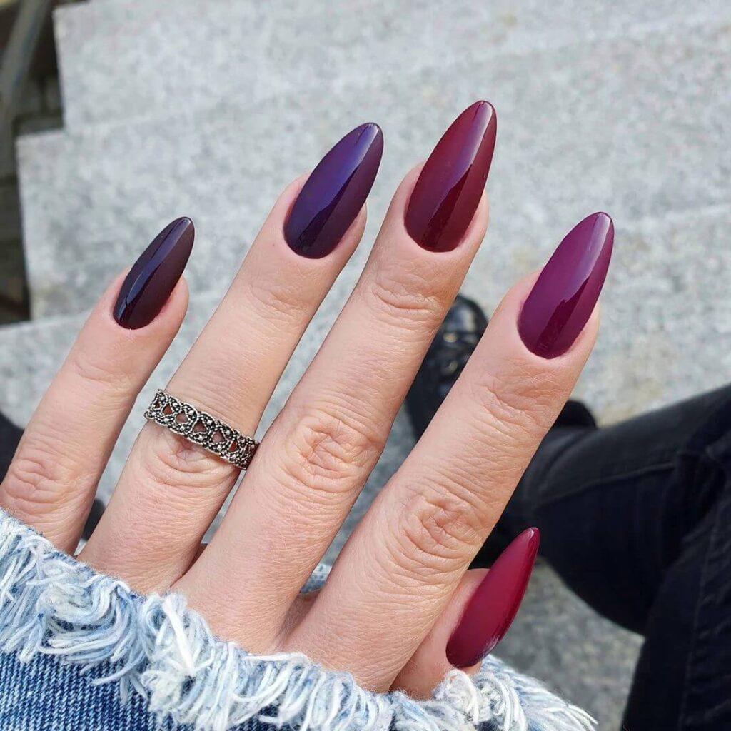 Red gradient valentine nails