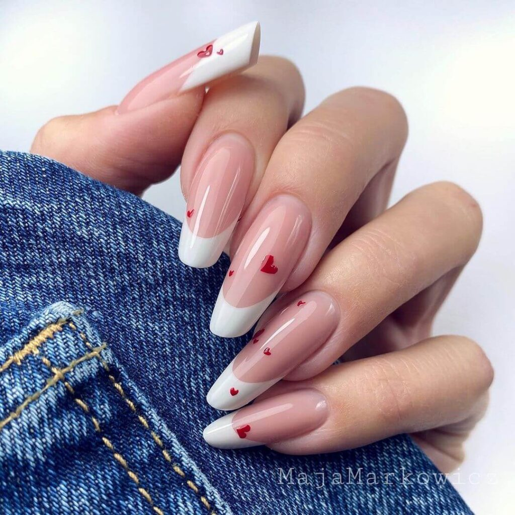 White and Nude French Long Valentine's Day Nails