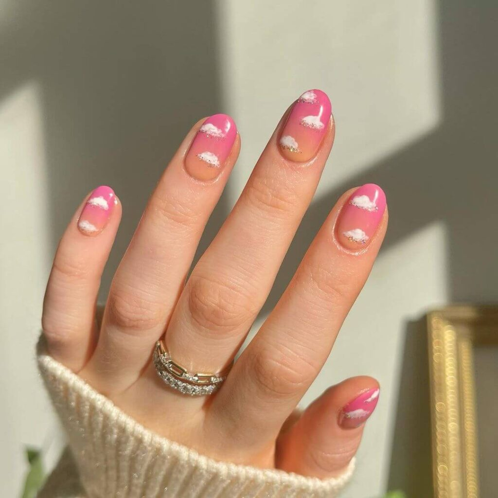 Pink and Yellow Gradient Valentine's Day Nails