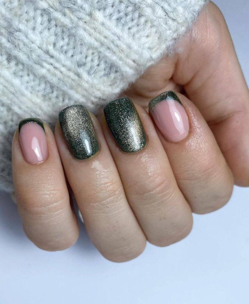 Light Green Cat Eye Gel Valentine's Day Nails