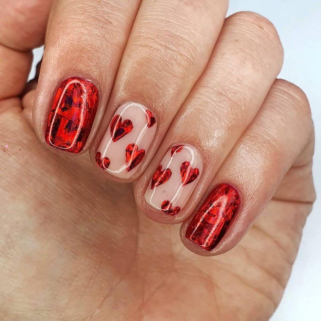 Shiny red peach heart Valentine's Day nails