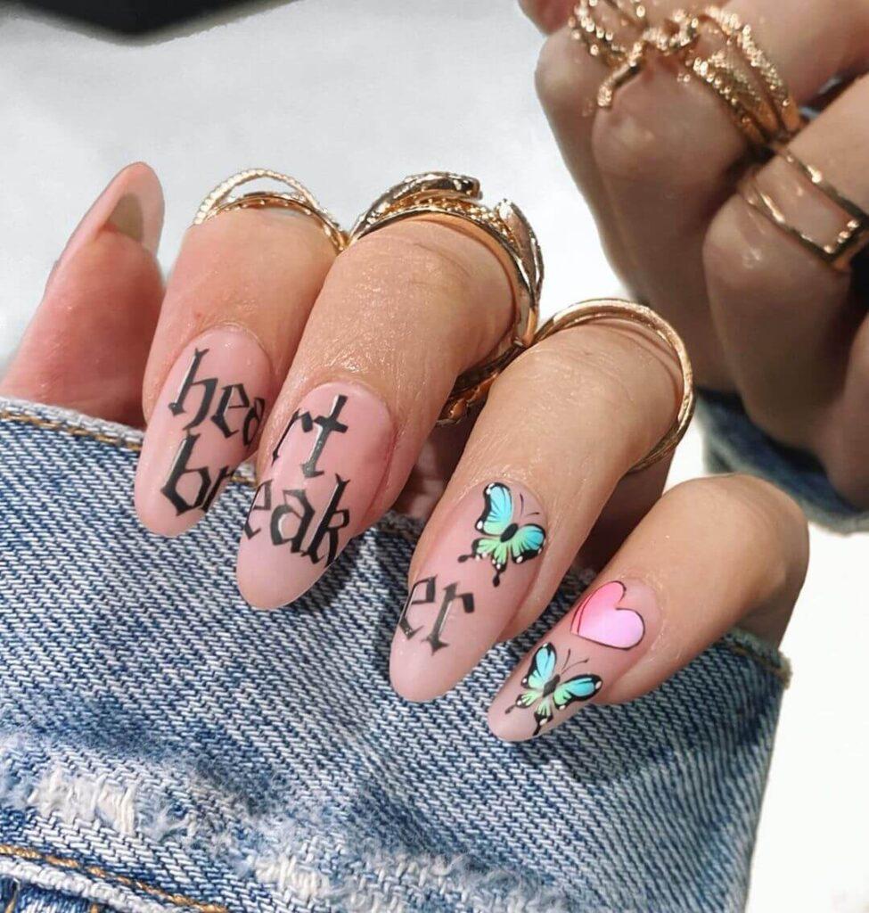 Fashion short almond valentine nails