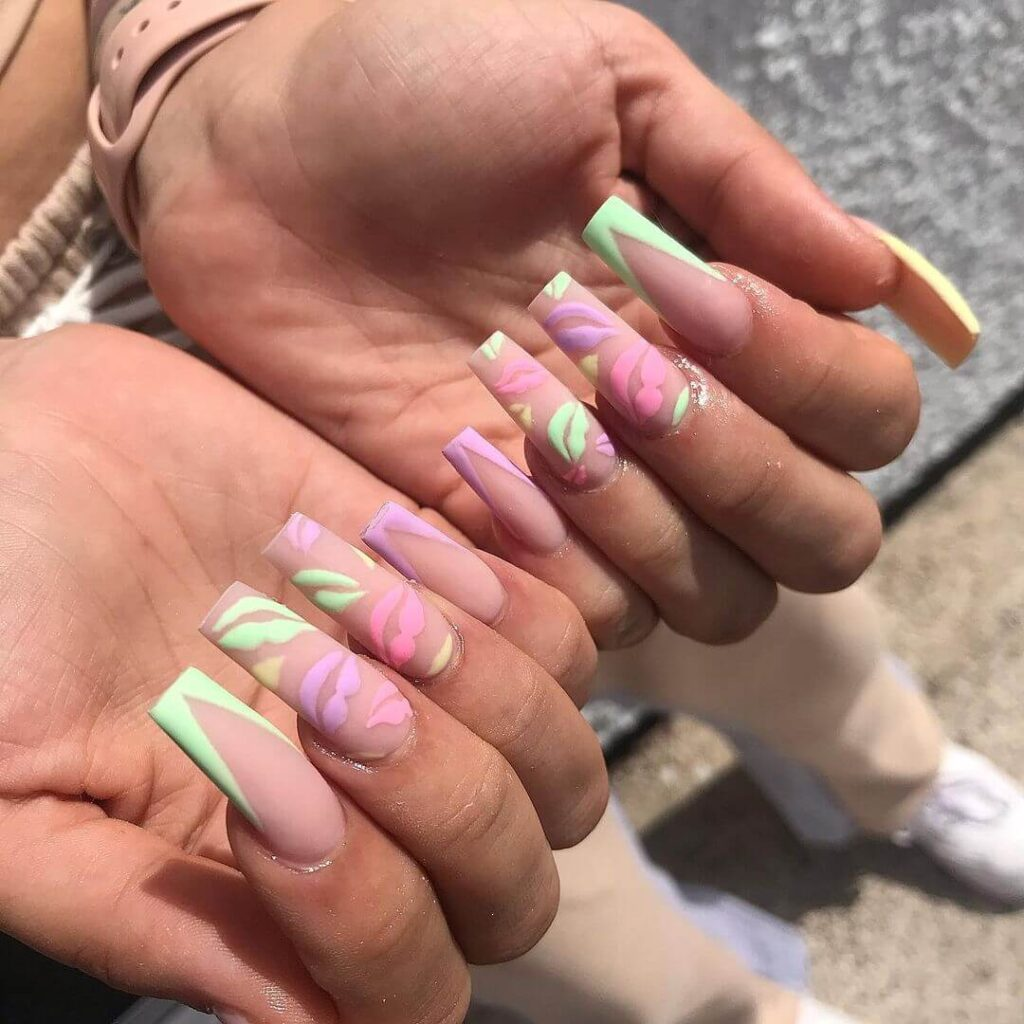 Purple and Green Matte Valentine's Day Nails