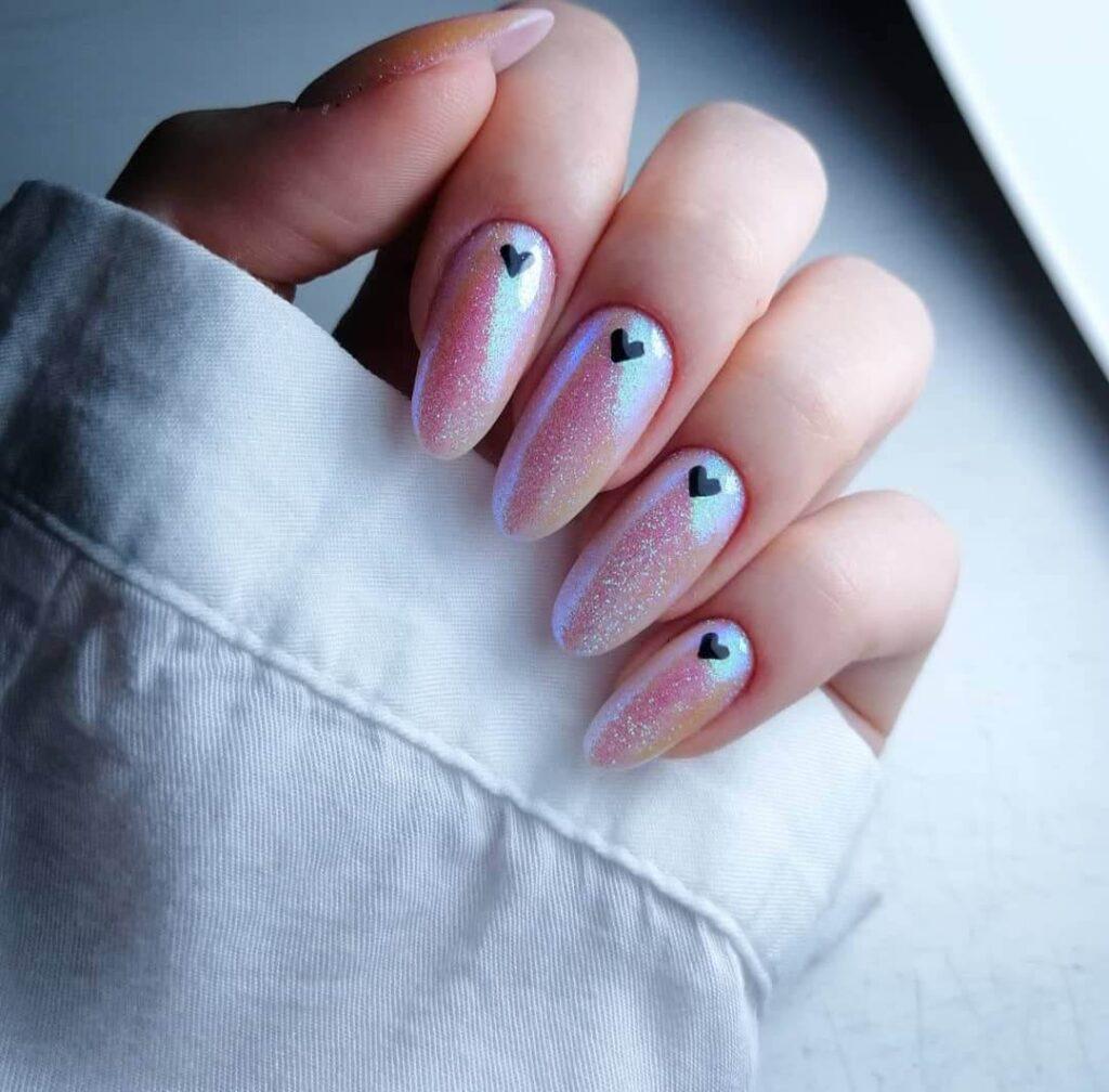 Shiny Valentine's Day nails