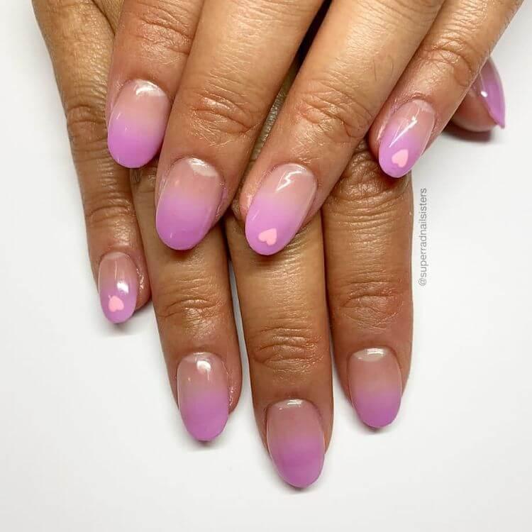 Purple short ombre Valentine's Day nails