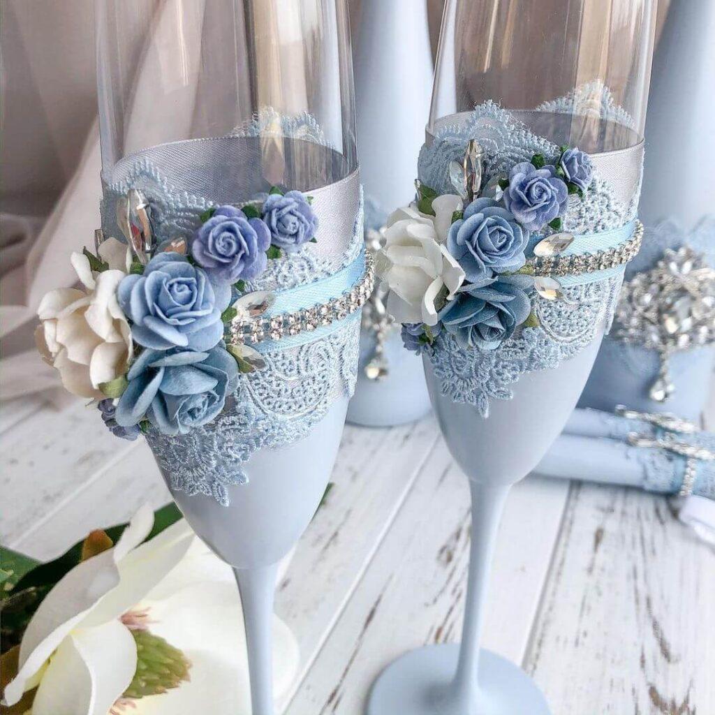 Light blue wedding glass
