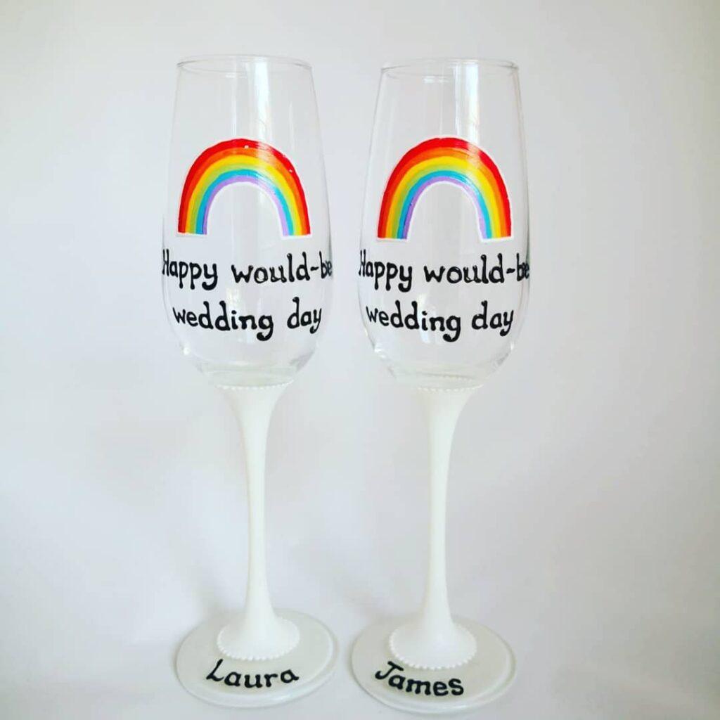 Rainbow wedding glasses