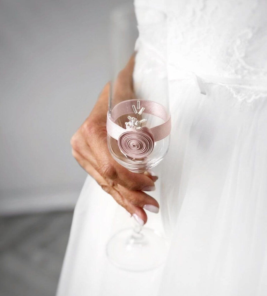 Light pink wedding glass