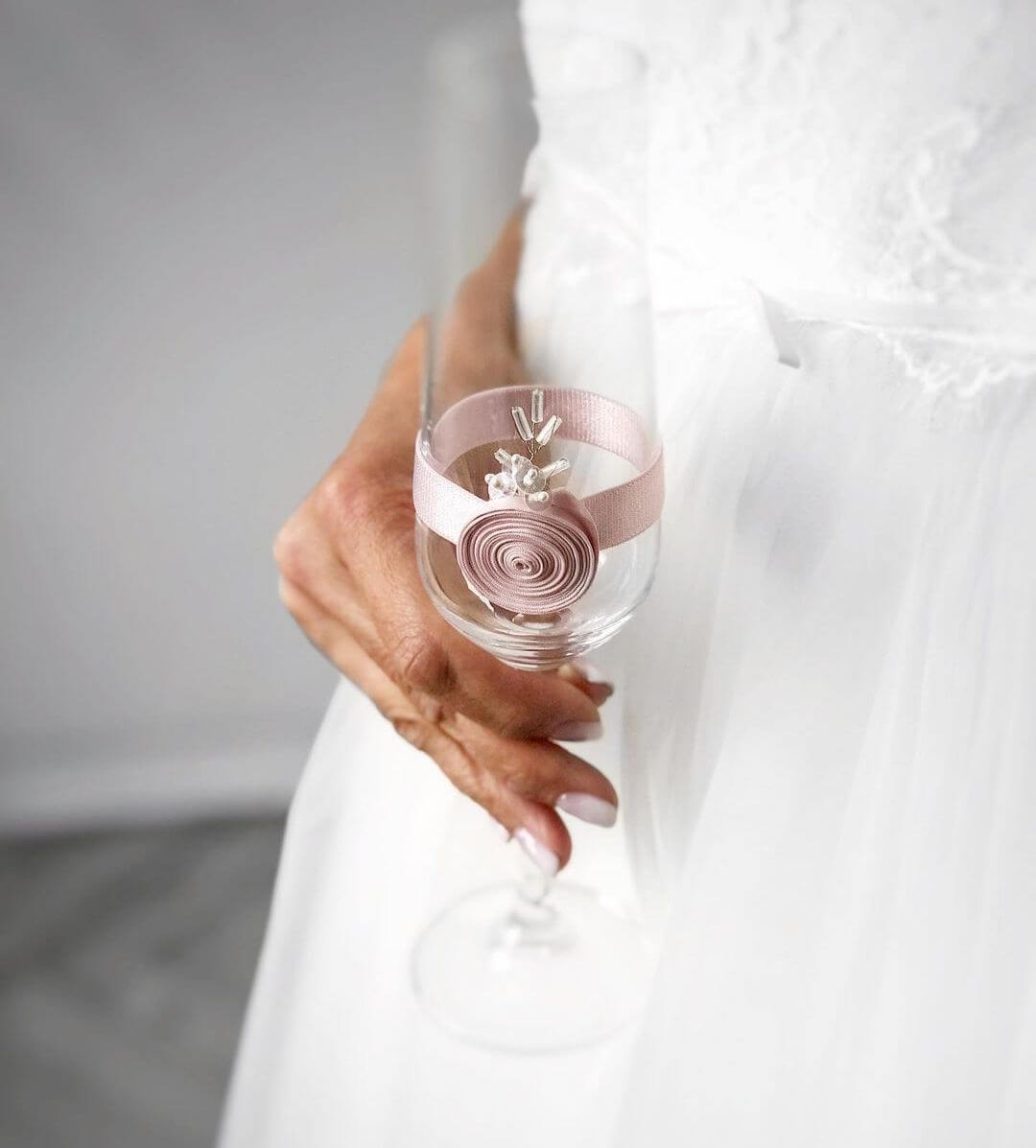 Light pink wedding glass
