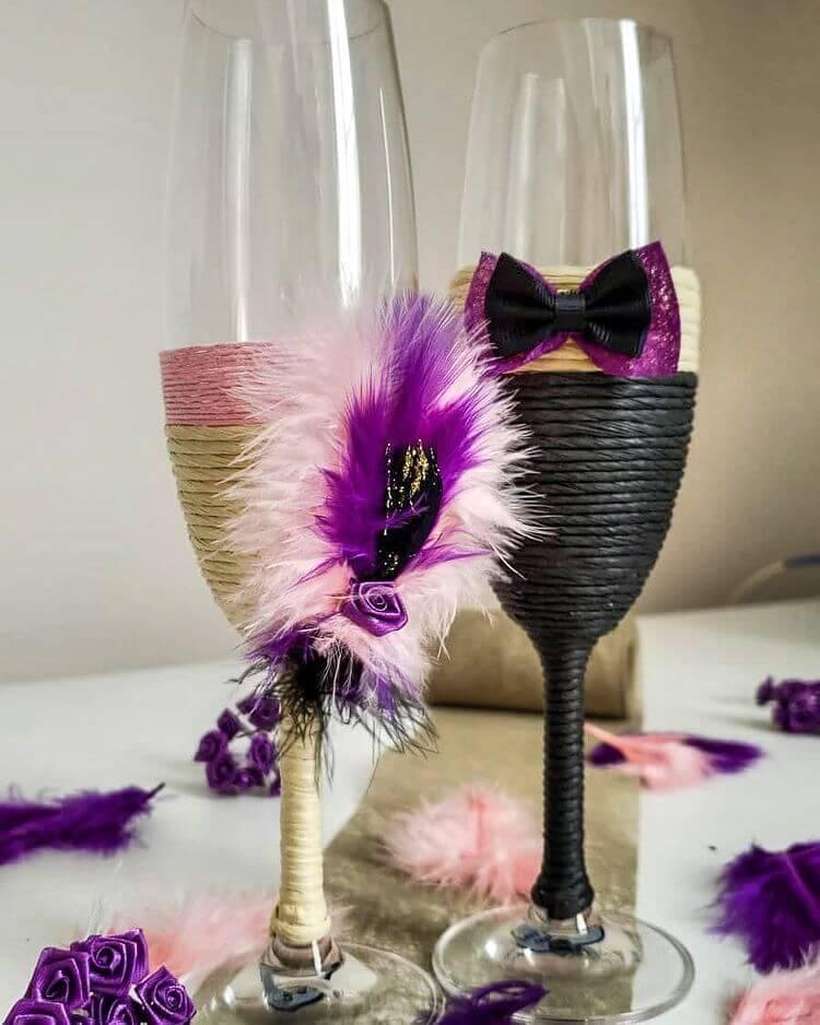 Purple wedding glasses