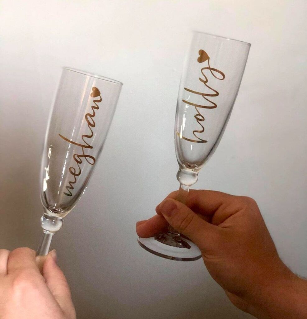wedding glasses For bridesmaid and best man