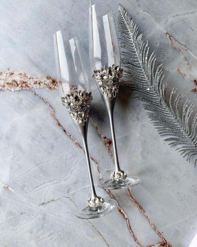 Silver wedding glass