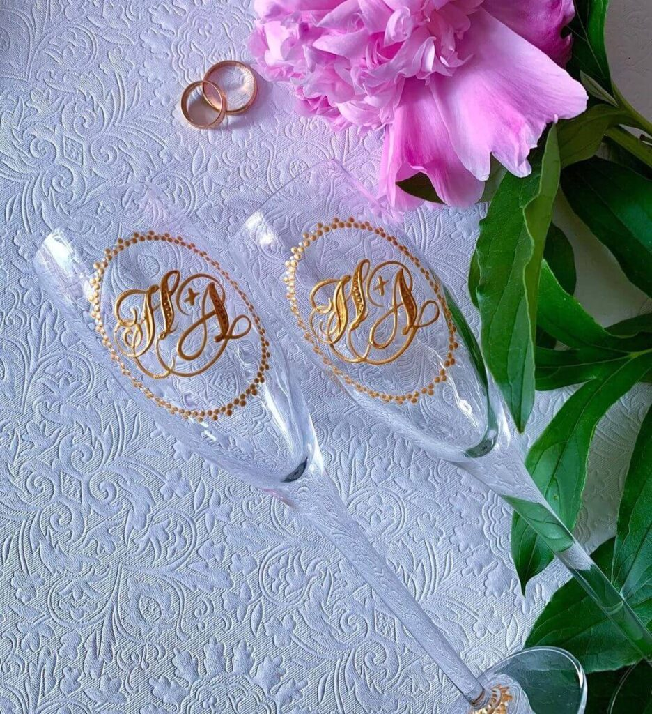 Wedding glasses with initials