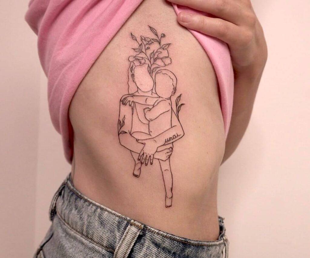 Thin line family tattoo