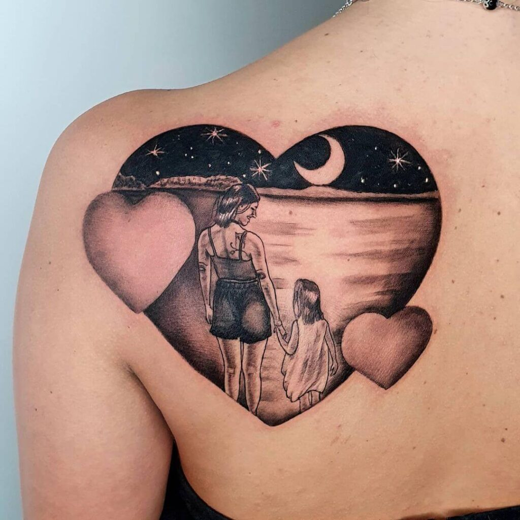 Family tattoo on the back