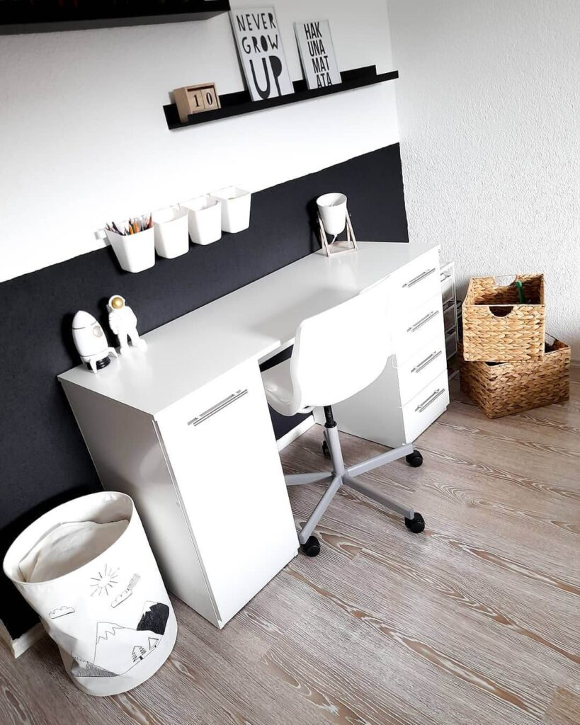 Simple black and white home office