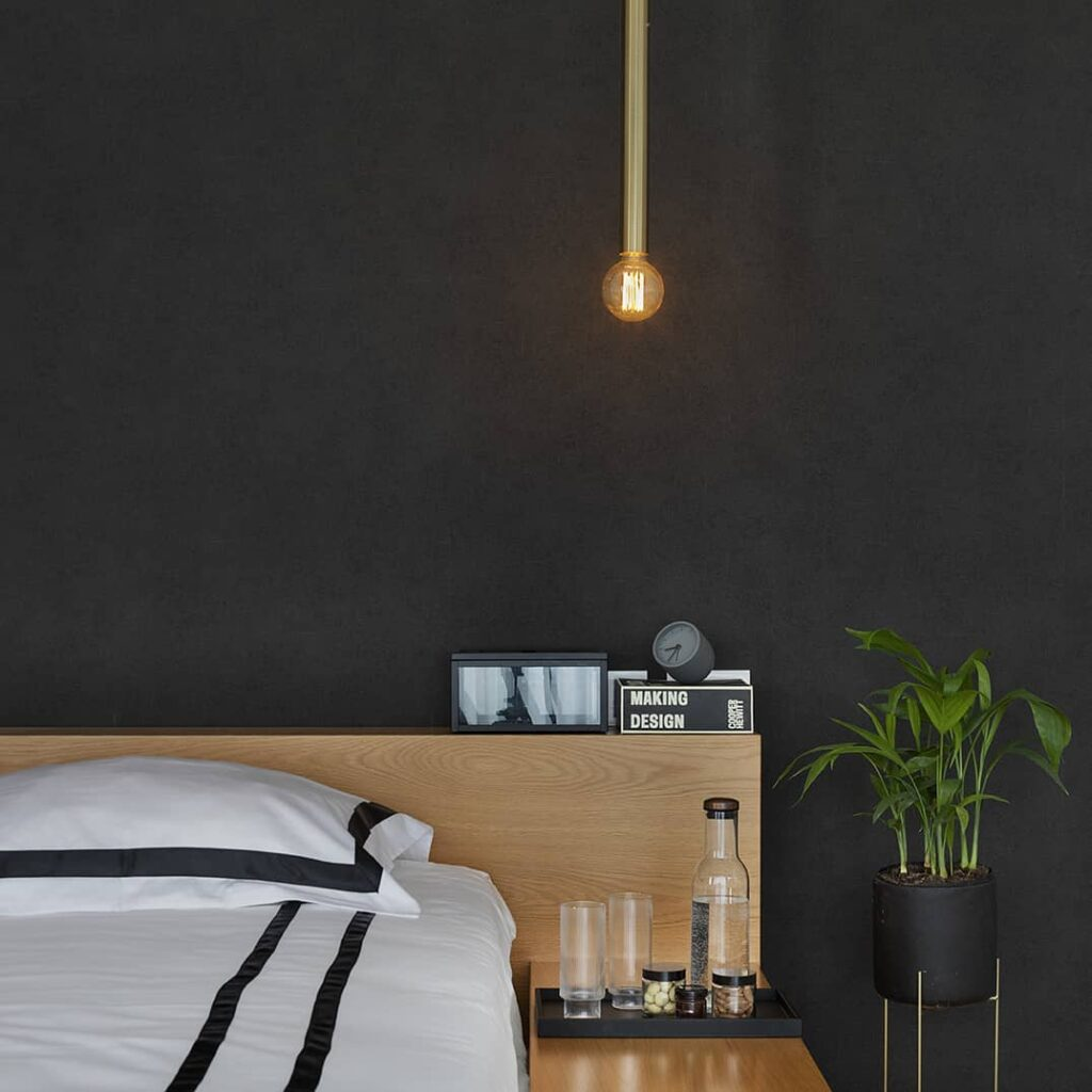 Bold bedroom accent wall