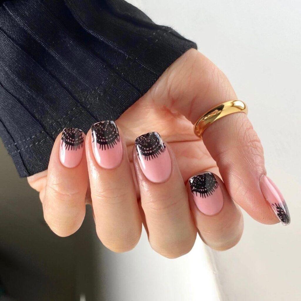 Black lace french nail