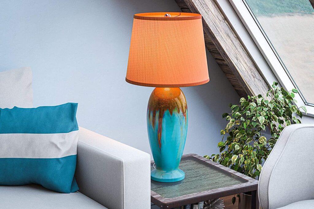 Blue green ceramic table lamp
