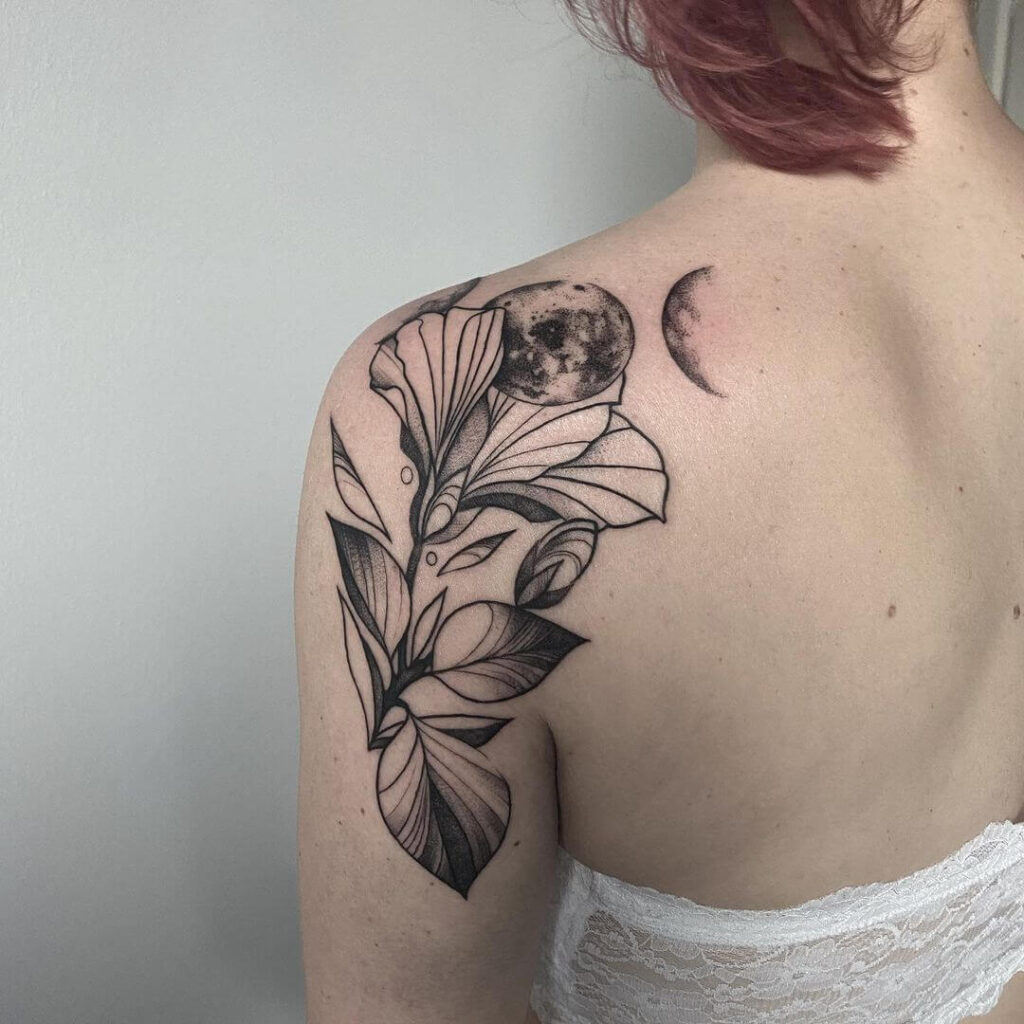 Charming moon tattoo