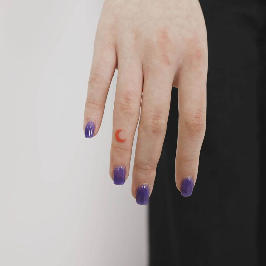 Color Moon Finger Tattoo