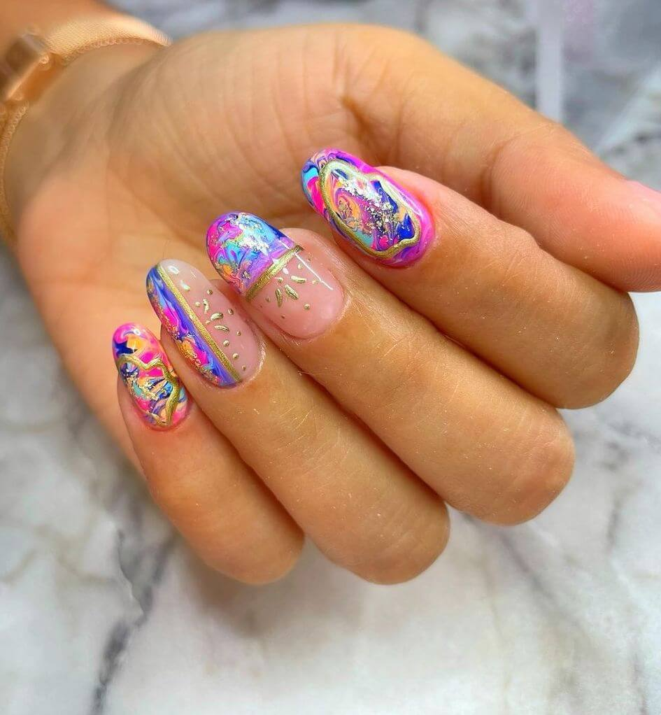 Colorful French nail