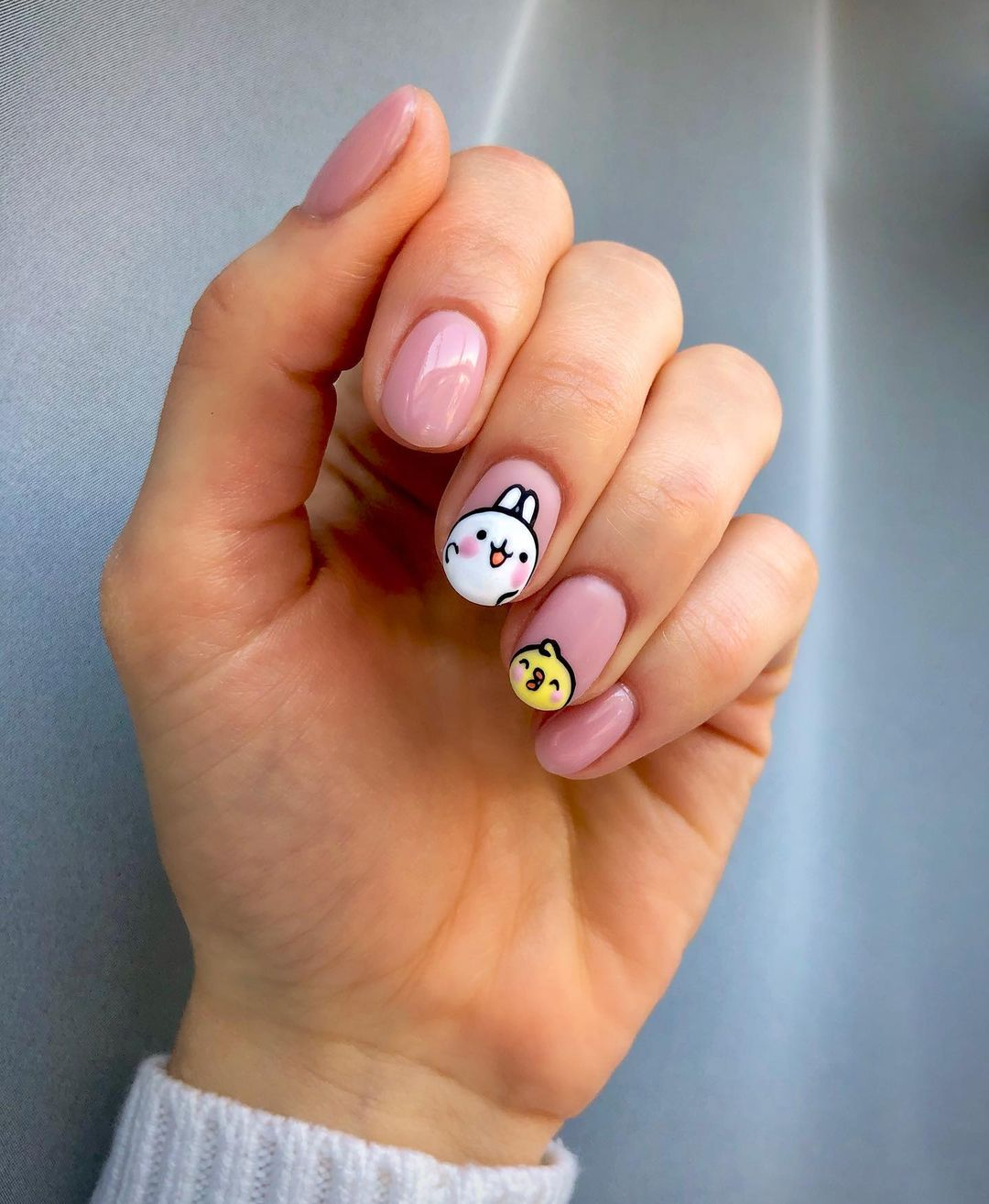 Cute pink short Easter nails