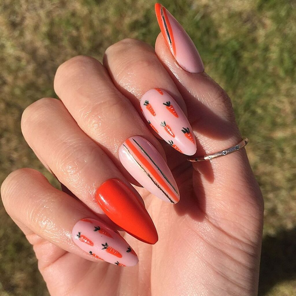 Carrot Almond Easter Nails