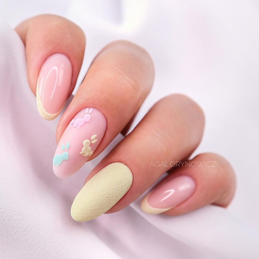 Light yellow Easter nails