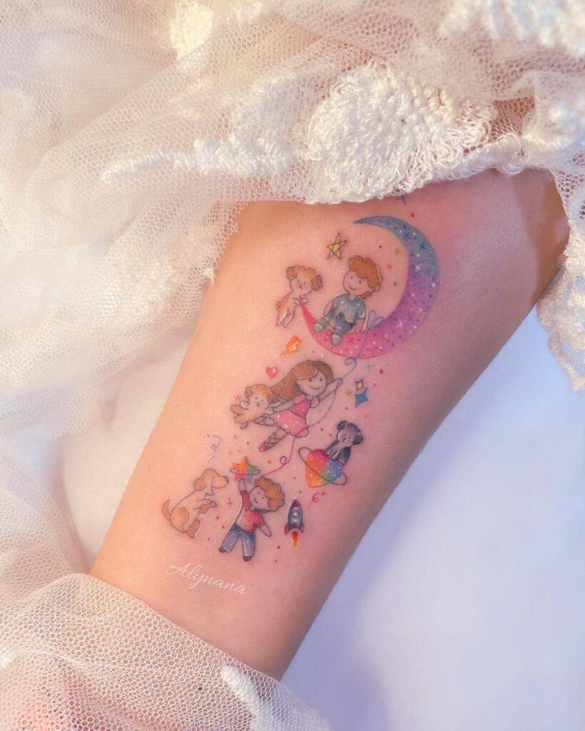 Family Moon Tattoo