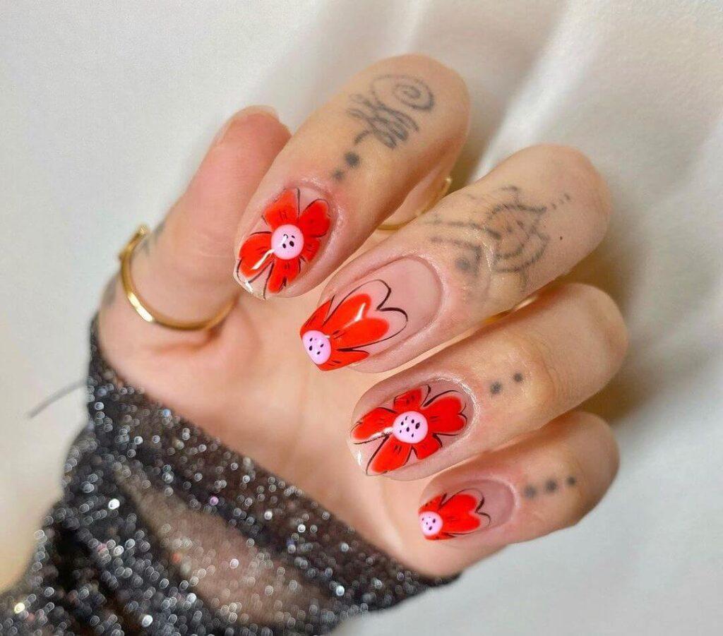Red simple flowers