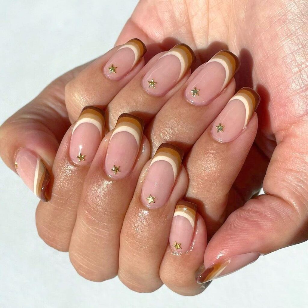 Gradient brown French nail