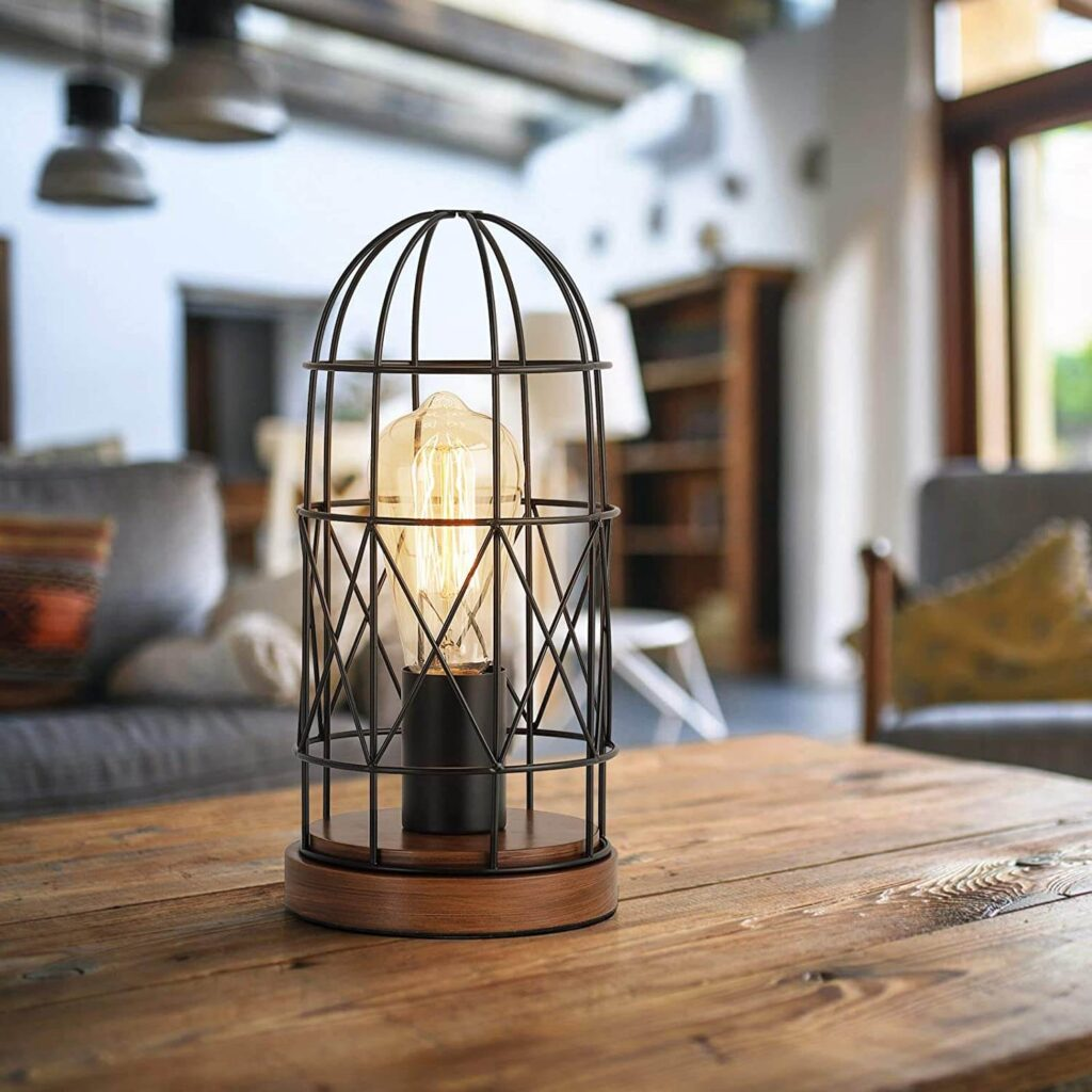Metal cage table lamp