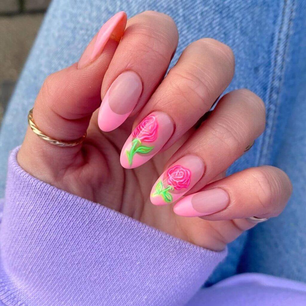 Rose French nail