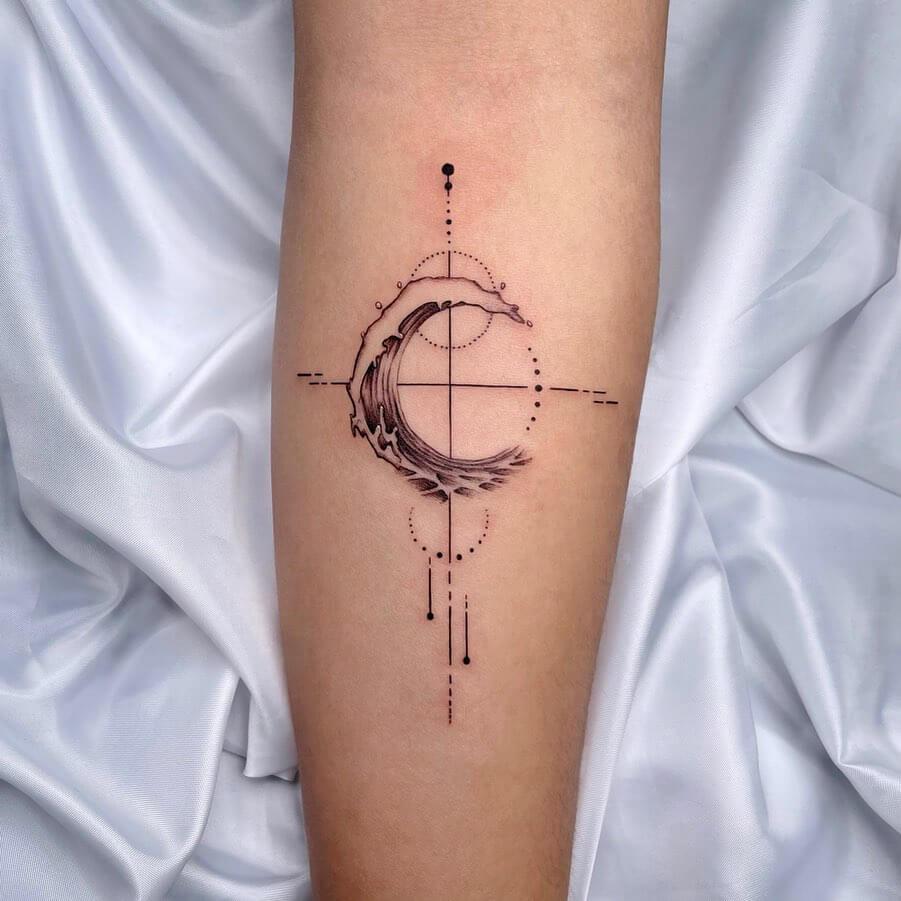 Sea wave moon tattoo