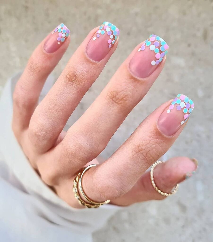 Shiny Polka Dot French Nail