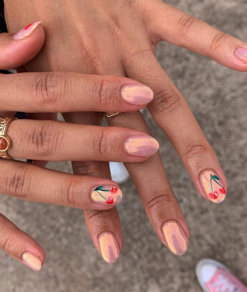 Shiny cherry short nails