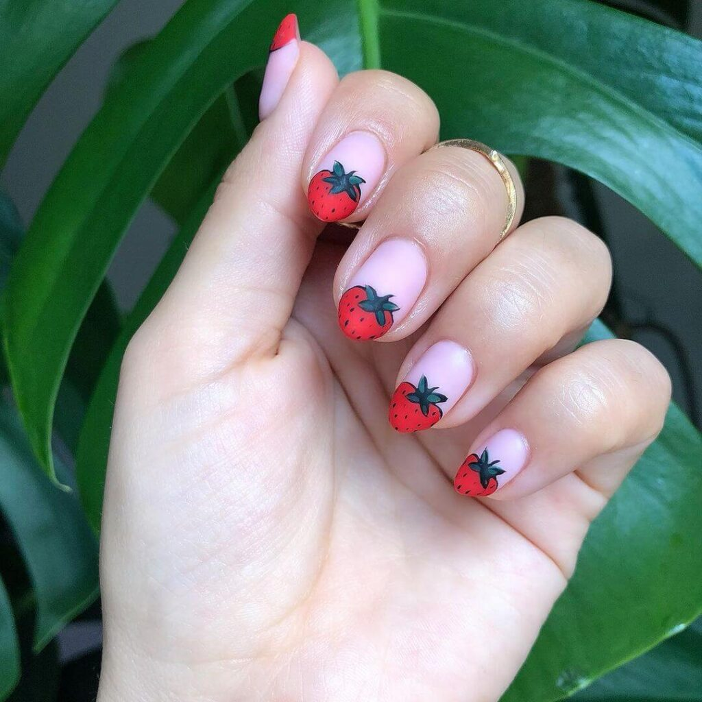 Strawberry French nails