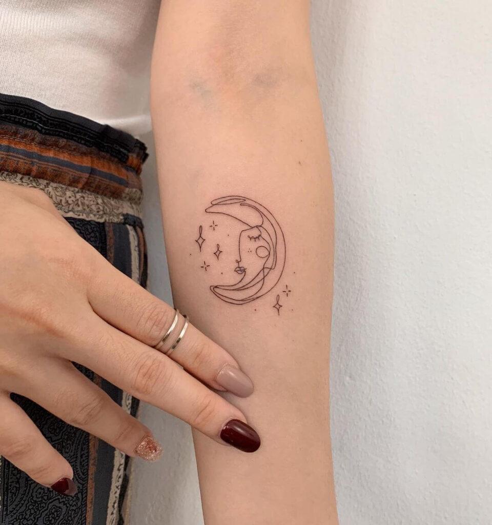 Thin line moon abstract tattoo
