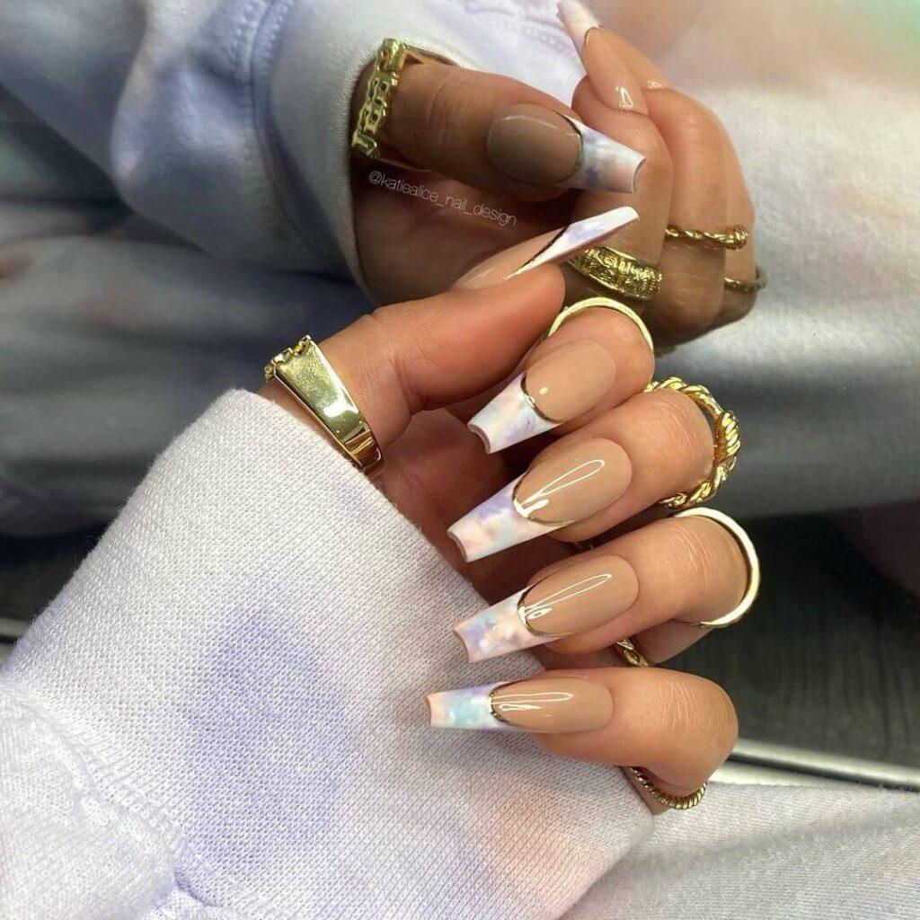 Tie-dye French nail
