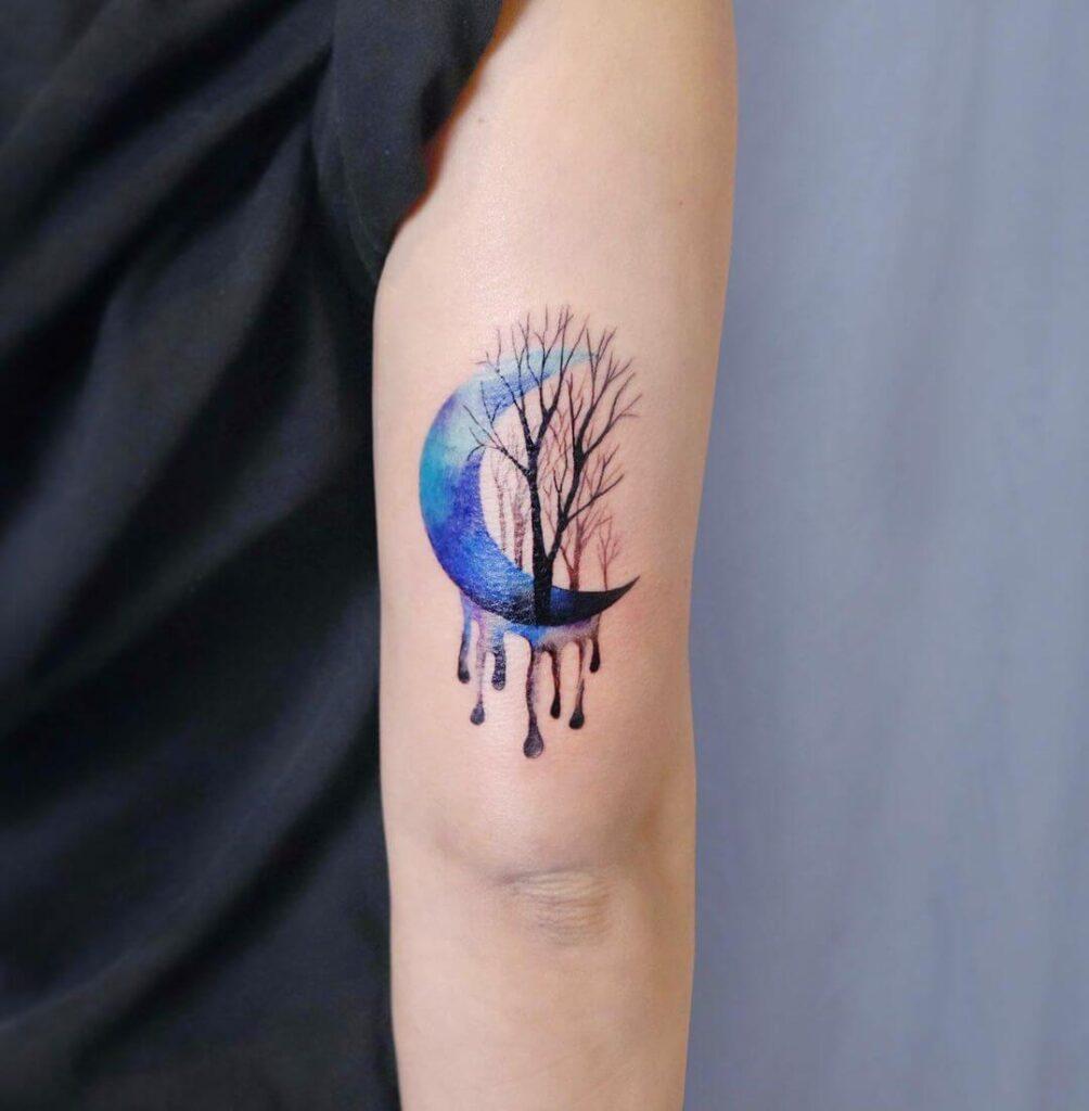 Tree moon tattoo