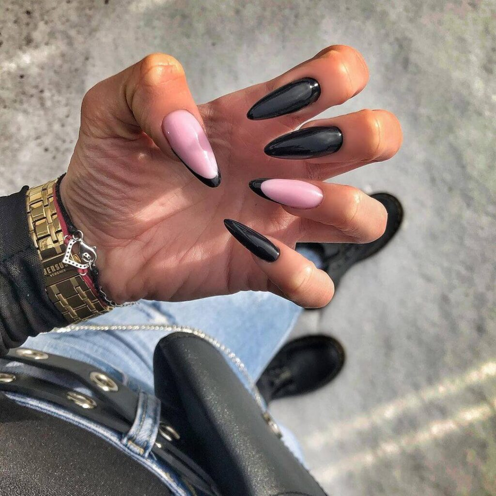 Unique black French nail