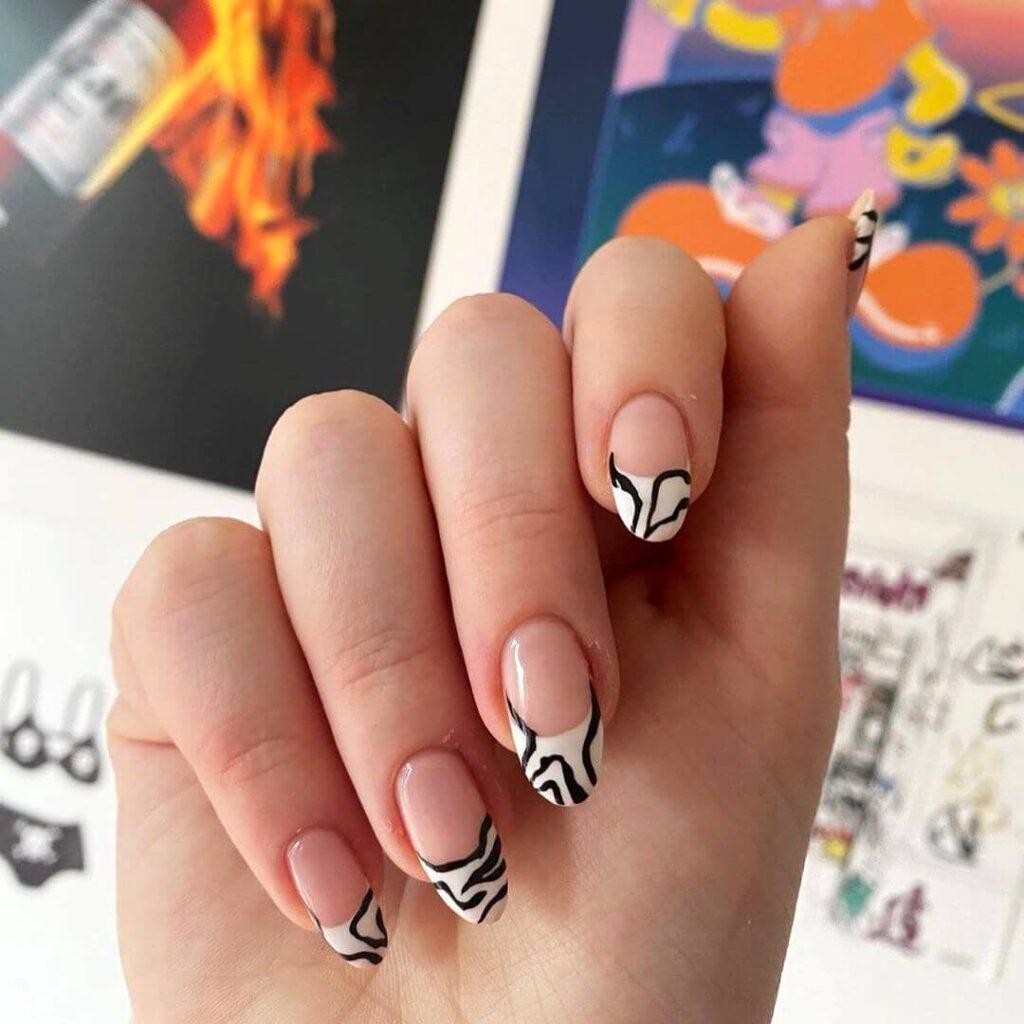 Zebra French Nail