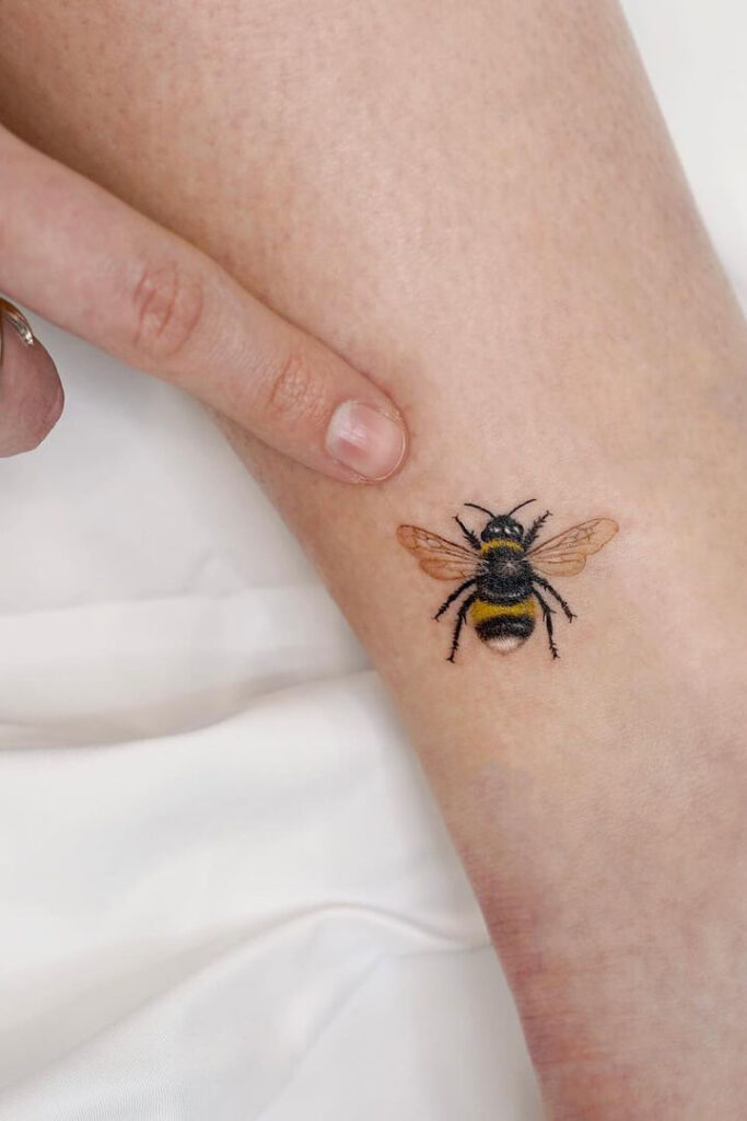 Color bee tattoo