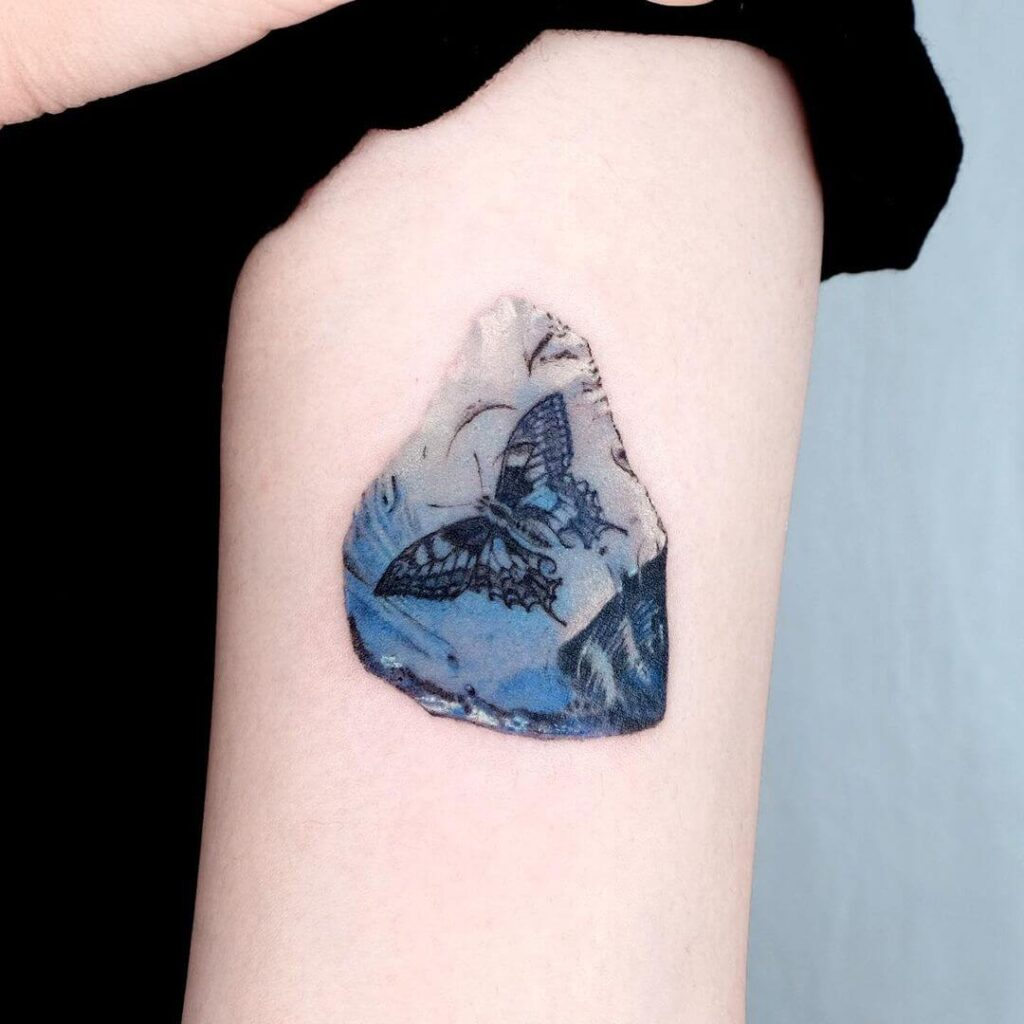 Butterfly fossil tattoo
